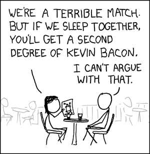 Not really a 'degree of Kevin Bacon', but I couldn't find any better expression that would still make the joke work.