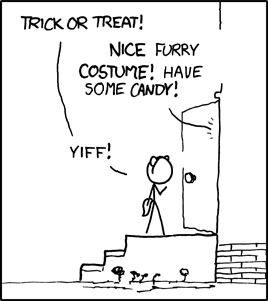 Of course, in reality, likelihood of him getting candy with that outfit is pretty low...