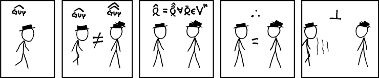 Meet hat guy. Hat guy and hat hat guy are different people. Hat-Q is Hat-Hat-Q for all vectors Q in n-dimensional space (where Hat is the unit vector). Hat guy and hat hat guy are equal. Contradiction!