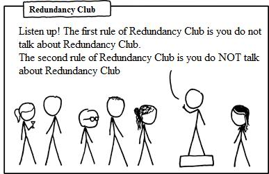 You see, the joke is that by repeating the rule he's perpetuating the redundancy of the club itself. It's funny.