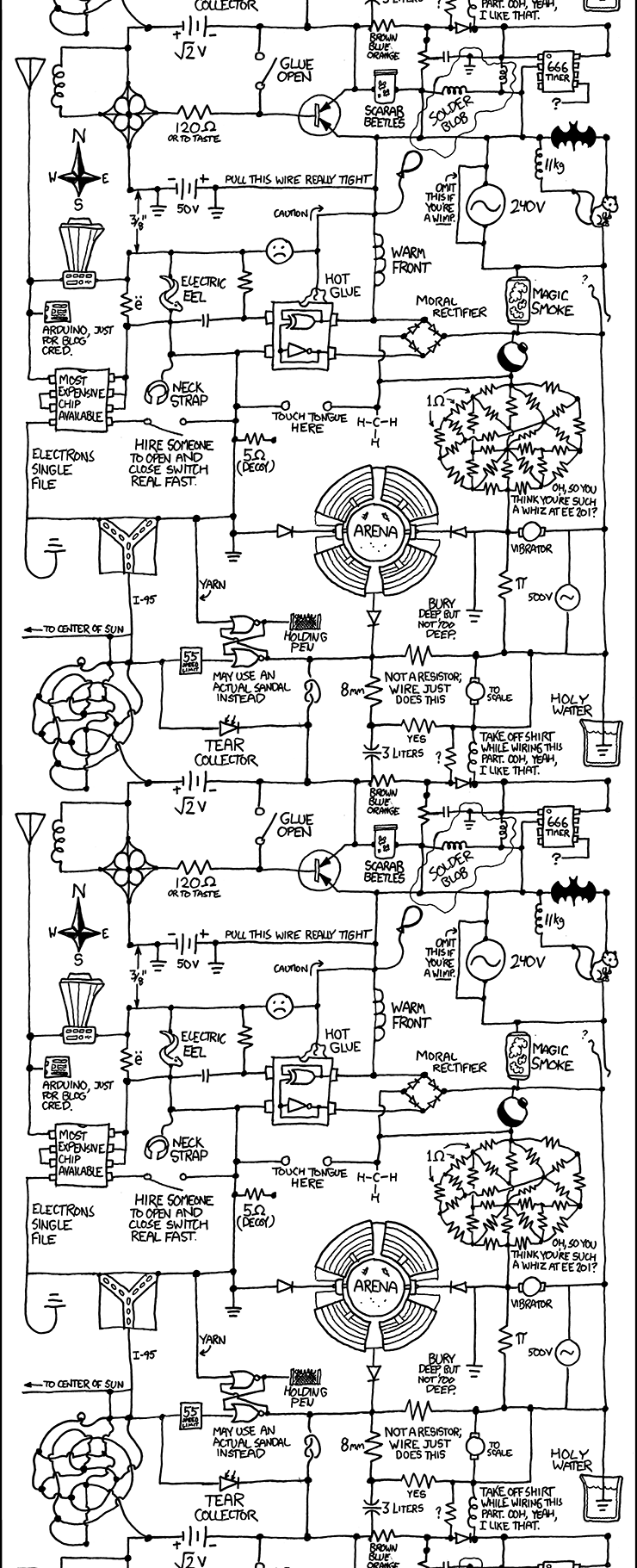 circuit diagram, by you, sir, name? - making xkcd slightly worse, Wiring circuit