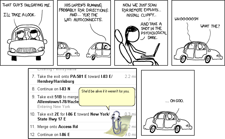 Clippy Tailgating, by sunami - Making xkcd Slightly Worse